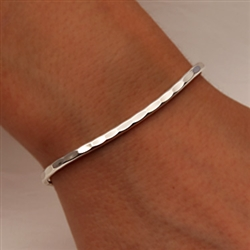 Sterling Silver Thin Hammered Cuff Bracelet 351 S